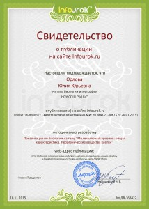 Сертификат проекта infourok.ru № ДВ-168422
