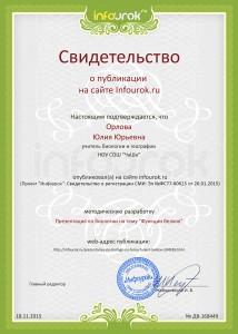 Сертификат проекта infourok.ru № ДВ-168449
